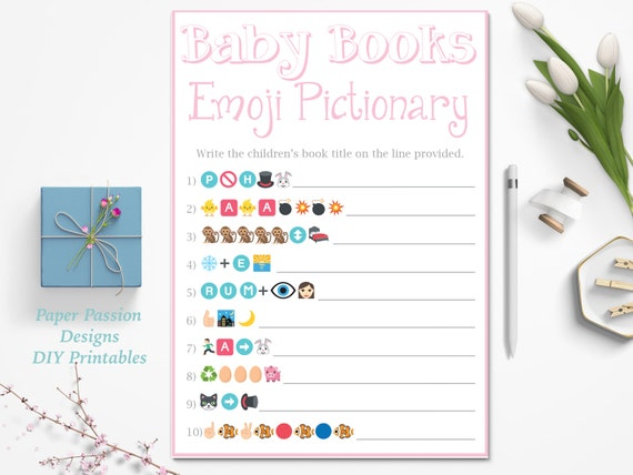 emoji pictionary game pink baby shower game baby books pictionary