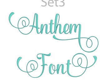5 Size Anthem Font Embroidery Fonts BX Set 3 Instant Download 9 Formats Embroidery Pattern Machine BX Embroidery Fonts PES