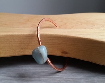 Healing Amazonite, Delicate Hammered Copper Cuff, Bangle, Bracelet