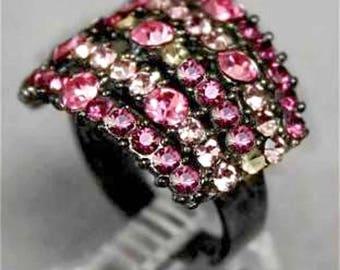 Sparkly Mint Pink Violet Rhinestone Crystal Adjustable Ring r996