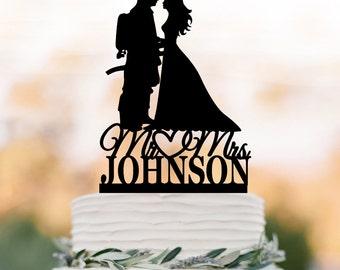 personelzed fireman wedding cake topper groom letter, bride silhouette, funny wedding cake topper mr and mr fireman