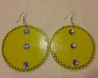 lime green wooden earrings