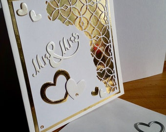 A square white card, wedding, handmade, handcrafted, embellished.