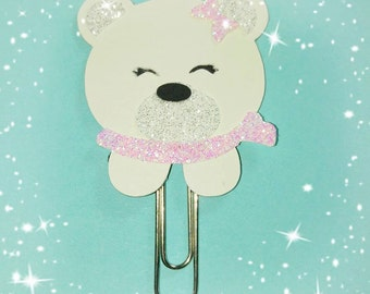 Trombone in the form of small white bear. lovely polar bear paperclip