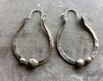 Forged Sterling silver rustic hoops,rustic Sterling silver hoops,organic Sterling silver hoops,rustic silver hoops,silver ball hoops,rustic