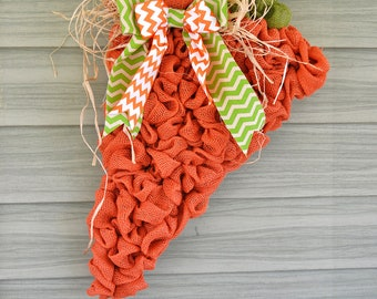 Burlap and Chevron Carrot Easter Spring Wreath Door Hanger
