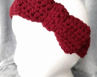 Burgundy Headband with Bow - Crochet