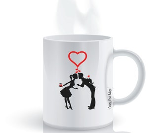 Couple Love Gift Giving Coffee Mug, Love Coffee Mug, Valentines, Cute Couple, Girlfriend Gift, Boyfriend Gift