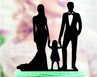 Love Family Wedding Cake Topper, Bride and Groom with little Girl, Kids Silhouettes, Cake Toppers , Laser Cut, Acrylic Cake Topper
