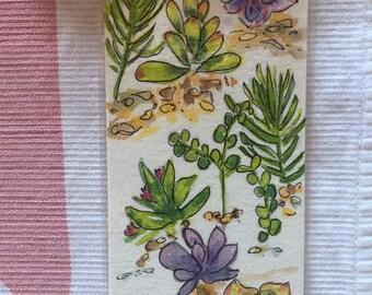 Original Watercolor Bookmark, Succulents