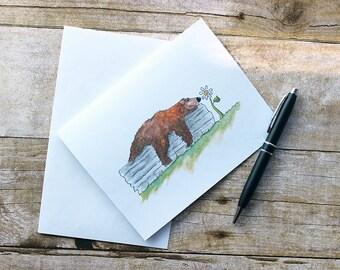 Cute Bear Card - Cute Bear Cards - Animal Note Cards - Bear Note Cards - Animal Cards - Note Cards - Watercolor Note Cards - Bear - Bear Art