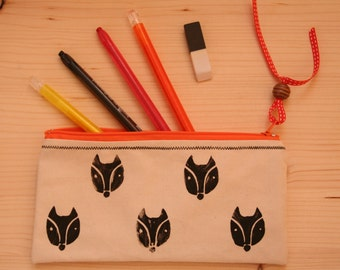 Handmade and Hand printed Fox Pencil Case