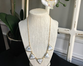 Marble Triangle Statement Necklace