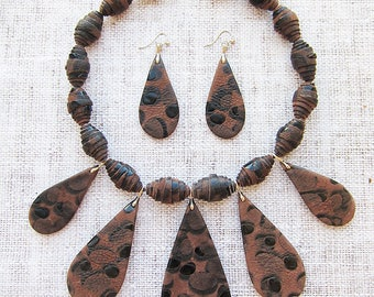 Leather necklace Leather choker Chunky necklace Leather jewellery Tribal necklace Vintage necklace Statement jewellery Handmade necklaces
