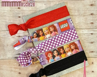 Lego Hair Ties, Party Favors, Friends Hair Ties, Girl Lego Hair Ties, Elastic Hair Ties, Yoga Hair Ties, Ponytails, No Crease Ties, Cartoon