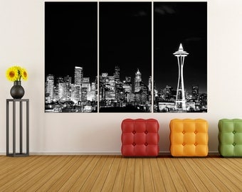 Washington Seattle skyline Canvas Print wall art, extra large wall art fine art print, large canvas art print, modern art, fine art bir19