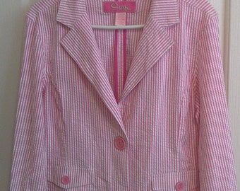 20% off Cute Pink Stripe Blazer Size Large