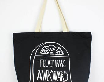 That Was Awkward tombstone Canvas Tote Bag GOTH halloween punk witch graveyard cemetery FUNNY gifts for goths Dark Humor Morbid headstone