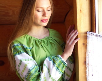 "Traditional Dress ""Spring"", Slavic dress, linen dress, pregnant dress, floor lenght dress, long sleeve dress"