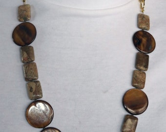 Mother of Pearl and Jasper Beaded Necklace