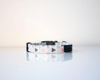 Designer Dog Collar - Triangles and Pink – Handmade Dog Accessories