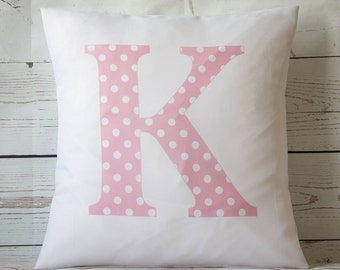 """Personalised pink spot initial ~ 16"""" white cushion/pillow cover vintage shabby chic nursery girl"""
