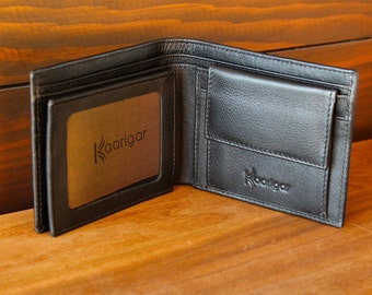 Mens Wallet Leather Wallet Trifold Black Trifold Leather Slim Wallet RFID Protection Full Grain Leather Wallet With Coin Pocket Wallet