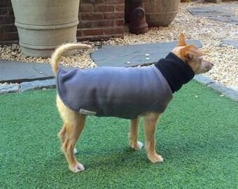 Custom Dog Fleece Coat- Gray Dog Hoodie/Scarf- Dog Jacket- Dog Clothes