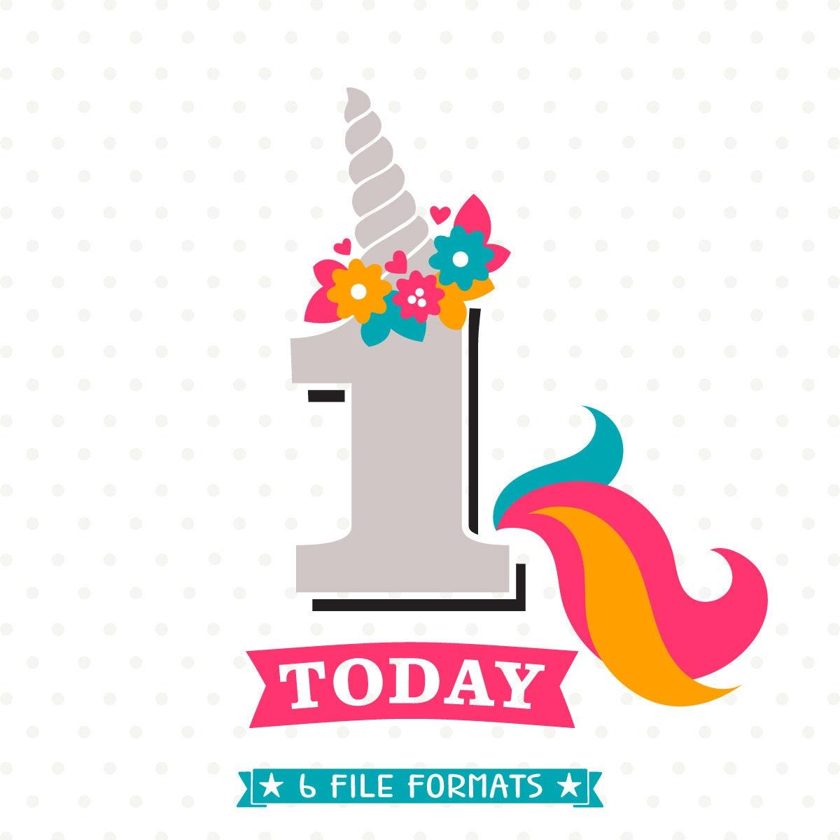Unicorn Birthday SVG 1st Birthday SVG Girls Birthday Iron On