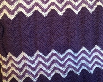 Crocheted Afghan in Plum and Dusty Purple