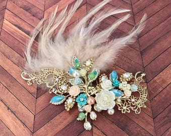 Handmade Hair Clip With Feathers, Gold Toned, Floral, Bohemian, Elegant, Flapper, Unique, Wedding Hair, Updo, Bride, Bridal Hair, Prom