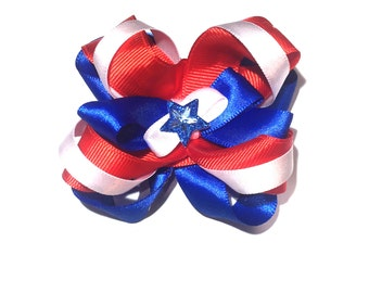 Hair Bow Red White and Blue