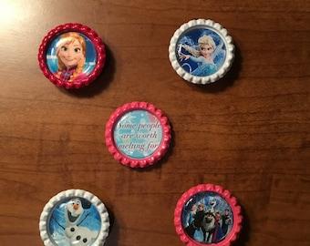 Handmade Frozen  BottleCap Magnets, Set of 5