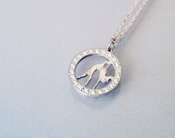 "Silver pendant with silver chain ""Pole Dance.Diva"""