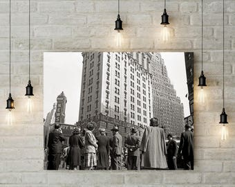 Times Square, New York City, D-Day, June 6 1944, New York Print, Black White Photography, Wall Art, Poster Art