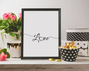 Love Poster,Love Printable,Love Artwork,Love Script,Handwriting Art,Newlywed Gift,Wedding Wall Art,Love Quote Print,Anniversary Print