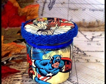 Marvel(lous) Hand Decorated Mini Secret Stash Jar, Herbs/Pills/Jewellery...Wedding/Party Favour Gift 45ml