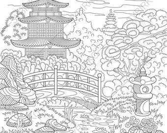 Japanese Coloring Book Pages. Japanese Garden  Coloring Pages book pages for Kids and Adults Geisha