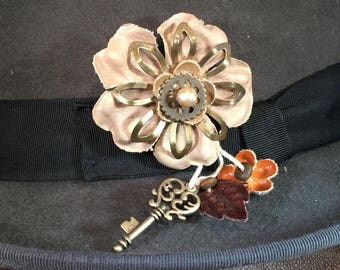 STEAMPUNK FLORAL PIN with charms -hat pin, lapel pin, brooch, corset pin etc
