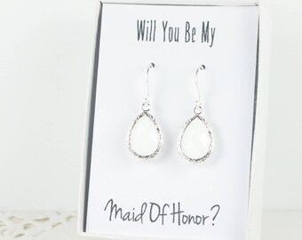 White Silver Teardrop Earrings, Silver White Earrings, Bridesmaid Gift, White Wedding Jewelry, Bridesmaid Earrings, Bridesmaid Jewelry