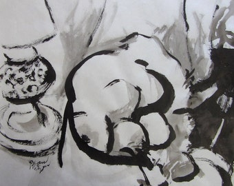 "Brush painting, original, black sumi ink on paper, ""La Pomme Qui Pleure"""
