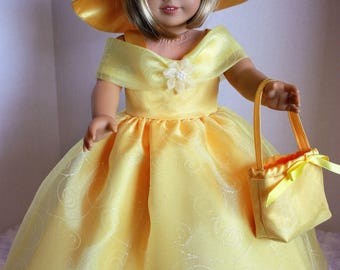 Yellow satin ballgown, Matching hat and purse, Special Occasion, Fits 18 inch American Girl doll
