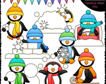 Winter Penguins Clip Art and B&W Set