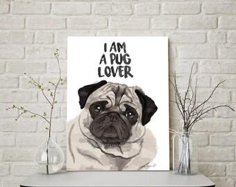 Pug Print, Pug Art, Pug Gift, Pug Dog, Pug Lover, Cute Pug, Pug Lover Gift, Pug Sticker, Pug Life, Christmas Pug, Pug Painting, Pug Gifts