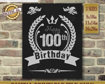 100th Birthday Gift, Birthday Sign, 100th Birthday Gift, Chalkboard Poster, 100th Birthday Centerpiece Printable DIGITAL FILE Only JPG
