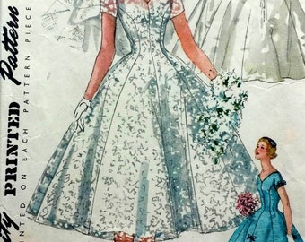 Vintage 1950's Sewing Pattern Elegant Grace Kelly Wedding Gown Veil & Head-Piece B 34""