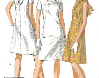"""Vintage 1960's Sewing Pattern Jiffy Dress A-Line V-Back Dress MOD Bust 36"""""""