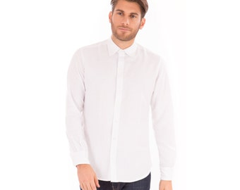 Mens White Linen Mix Long Sleeve Slim Fit Shirt