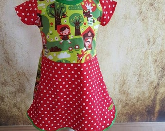 Little Red Riding Hood bio dress retro forest 80 146 points, dress, kids dress, bags, sale, fairy tales, summer, red, white, Wolf, Granny, twist dress