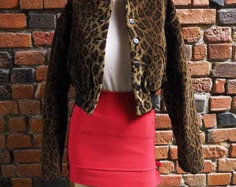 Women's 90s Brown Leopard Print Cropped Bomber Jacket Size Small Medium